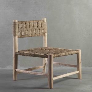 DOUM, Chaise basse en bois brut, 60x58xH75cm