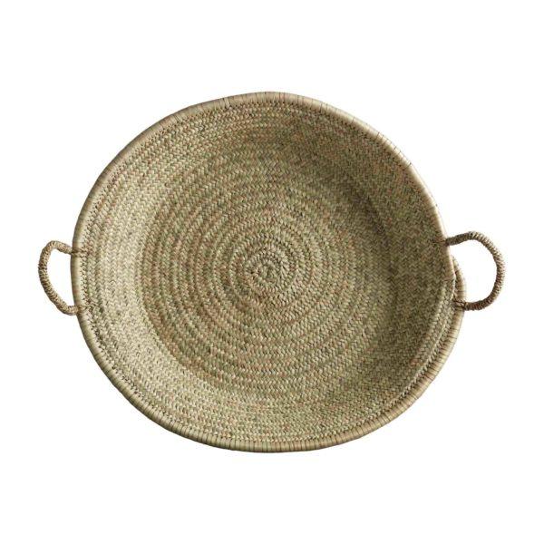 PALM, Grande corbeille fond plat avec anses, Ø55x8cm