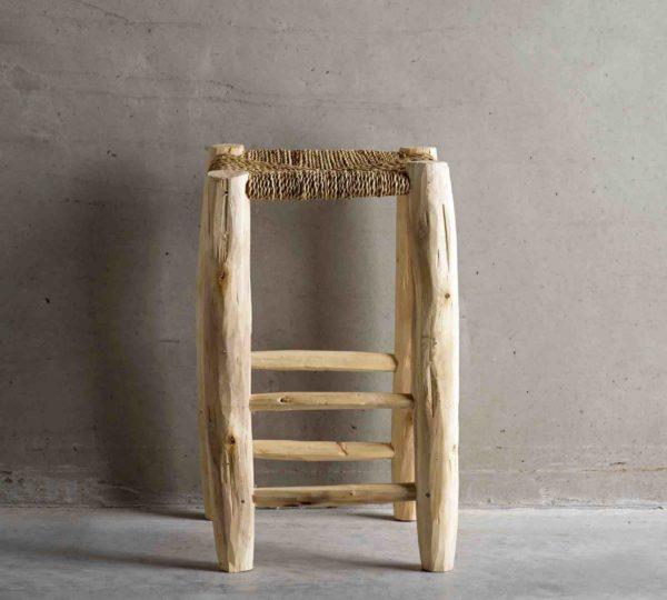 DOUM, Tabouret artisanal en bois brut, Hauteur 50cm