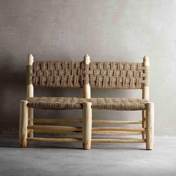 DOUM, Banquette double en bois brut, 50x100xH70cm
