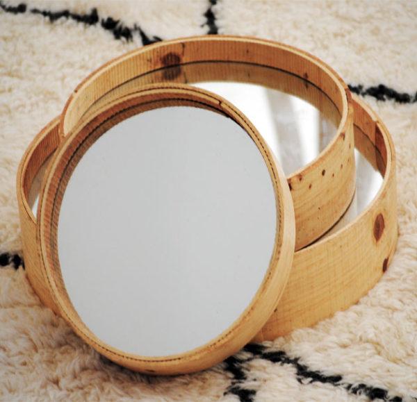 TAMIS, Set de 3 miroirs en bois brut, Ø 20/30/35cm