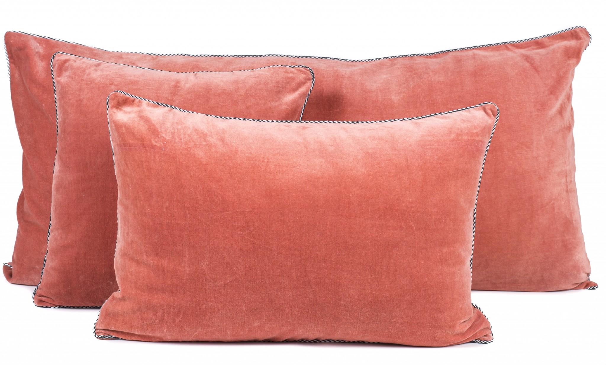 coussin velours DELHI   Housse de coussin velours de coton   40x60 cm   Pêche   Le  coussin velours